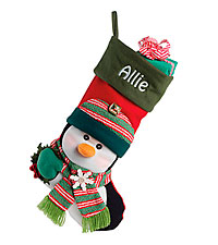 Personal Creations ® Big Face Jingle Bell Stocking - Penguin