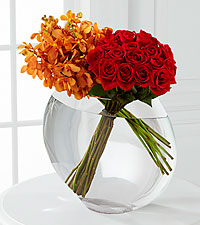 The FTD ® Glorious Rose Bouquet - 18 Stems of 24-inch Premium Long-Stem Roses & Mokara Orchids