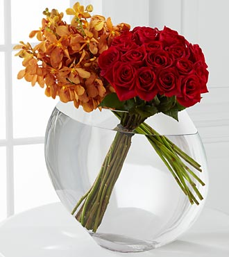 The FTD&reg; Glorious Rose Bouquet - 18 Stems of 24-inch Premium Long-Stem Roses & Mokara Orchids