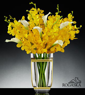 Sunlit Sophistication Luxury Orchid & Calla Lily Bouquet in Rogaska Crystal - 14 Stems