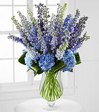 Bouquet d'hortensias et de pieds d'alouette Honestly Luxury - 31 tiges - VASE INCLUS