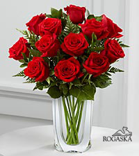 Long Stem Red Rose Bouquet with Rogaska Crystal Gondola Vase - 12 Stems