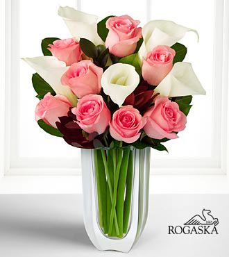 Fabled Beauty Bouquet with Rogaska Crystal Gondola Vase - 13 Stems