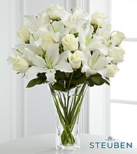 Meaningful Luxury Lily Bouquet in Crystal Steuben Glass Vase - 18 Stems