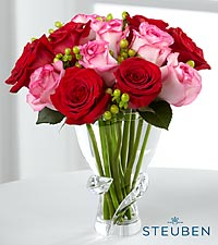 Sweetness Luxury Rose Bouquet - 12 Stems of 15-inch Premium Long-Stemmed Roses in Steuben Glass Vase