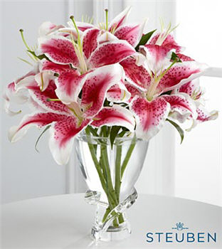 Incredible Luxury Lily Flowers - 5 Stems of Stargazer Lilies in Steuben Glass Vase