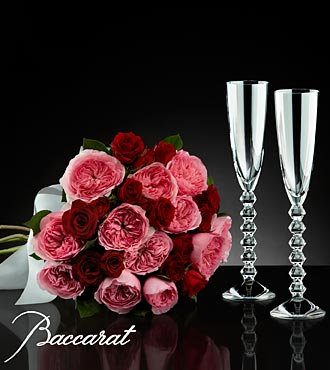 Love's Celebration Flowers with Baccarat Crystal Champagne Glasses - 18 Stems