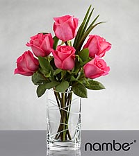 Pink Skies Rose Bouquet in Nambé Crystal Vase - 6 Stems