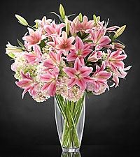 Intrigue Luxury Lily & Hydrangea Bouquet - 22 Stems - VASE INCLUDED