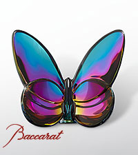 Baccarat ® Blue Scarabee Butterfly Paperweight