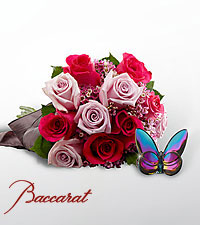 Blooming Insights Bouquet with Baccarat ® Blue Scarabee Butterfly - 15 stems