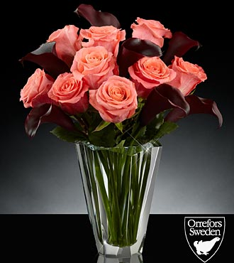 Midnight Sun Luxury Rose & Calla Lily Bouquet in Orrefors Precious Crystal Vase - 16 Stems