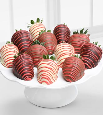 FTD Golden Edibles Classic Chocolate Covered Strawberries with Red Drizzle