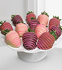 Golden Edibles™ Classic Chocolate Covered Strawberries with Spring Drizzle