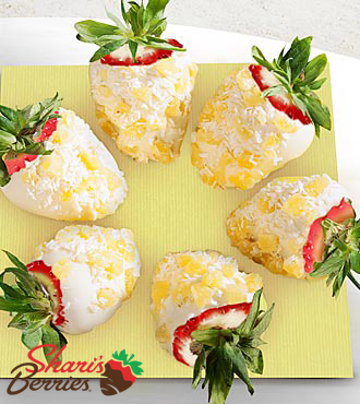 Chocolate Dip Delights? Pina Colada Real White Chocolate Covered Strawberries