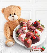 Shari 's Berries™ Limited Edition Chocolate Dipped Strawberries with Valentine 's Bear