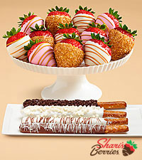 4 Dipped Pretzel Rods & Pink Champagne Strawberries