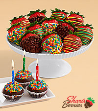 3 Birthday Brownie Pops & Birthday Strawberries