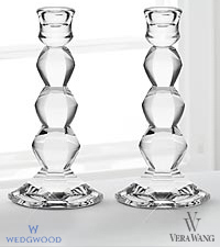 Vera Wang Wedgwood Crystal Orient Candlestick Pair