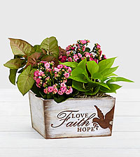 Perfectly Pink Garden in Faith Love Hope Trug