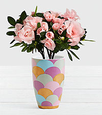 Pink Rosalea in Jewel Scalloped Vase