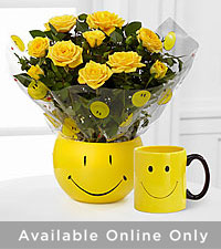 Sending a Smile Mini Rose Plant with Ceramic Mug