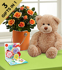 The Color Your Day with Laughter™ Mini Rose Plant by FTD ® with Bear & PopUp Card