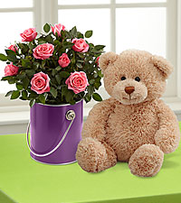 The Color Your Day with Beauty™ Mini Rose Plant by FTD ® with Plush Bear