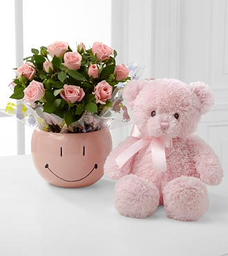 Sweet Baby Girl Smiles Mini Rose with Bear