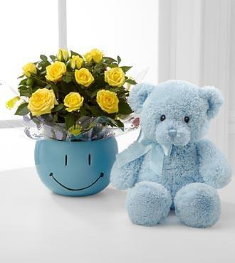 Sweet Baby Boy Smiles Mini Rose with Bear