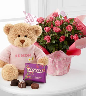 FTD Sweet Memories Mother's Day Mini Rose with Bear & Chocolates - BEST