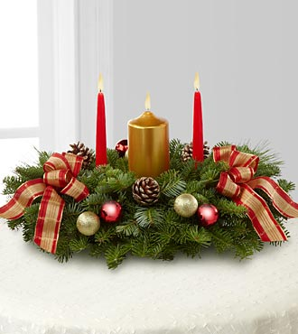 Classic Christmas Pillar Candle Centerpiece