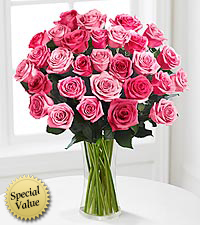 30 Long Stem Pink Rose Bouquet - 30 Stems