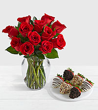 12 Red Roses with 6 Fancy Strawberries