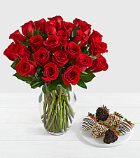 24 Long Stem Red Roses with 6 Fancy Strawberries