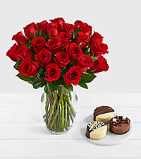 24 Long Stem Red Roses with Dipped Cheesecake Trio