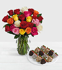 24 Rainbow Roses with 12 Fancy Strawberries