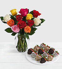 12 Rainbow Roses with 12 Fancy Strawberries