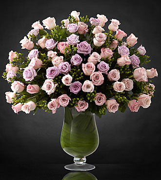 Applause Luxury Rose Flowers - 72 Stems of 24-inch Long-stemmed Roses - Vase Included