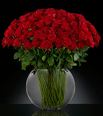 Breathless Luxury Rose Bouquet - 100 Stems of 24-inch Premium Long-Stemmed Roses - VASE INCLUDED