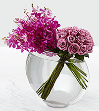 Bouquet de roses Duet Luxury - 18 roses de premi�re qualit� � tiges de 24 pouces - VASE INCLUS
