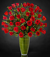 Bouquet de roses Fascinating Luxury - 40 roses de premi�re qualit� � tiges de 24 pouces - VASE INCLUS