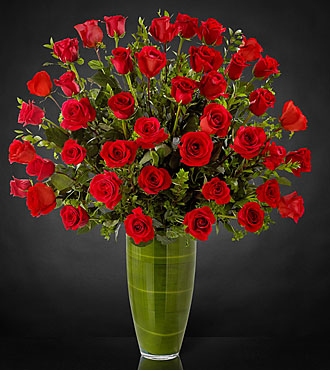 Fascinating Luxury Rose Bouquet - 40 Stems of 24-inch Premium Long-Stemmed Roses - VASE INCLUDED