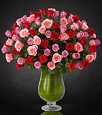 Bouquet de roses Heartfelt Luxury - 72 roses de premi�re qualit� � tiges de 24 pouces - VASE INCLUS