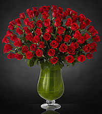 Bouquet de roses Attraction Luxury - 72 roses de premi�re qualit� � tiges de 24 pouces - VASE INCLUS