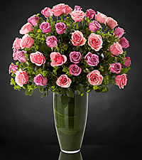 Bouquet de roses Serenade Luxury - 40 roses de premi�re qualit� � tiges de 24 pouces - VASE INCLUS