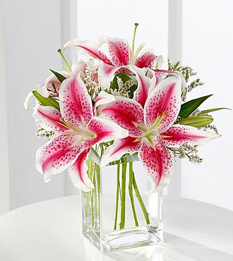 The Pink Lily Bouquet by FTD&reg; - VASE INCLUDED