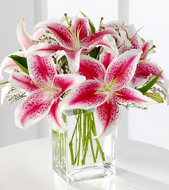 The FTD® Pink Lily Bouquet - VASE INCLUDED- Deluxe