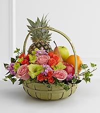 The FTD&reg; Rest in Peace&trade; Fruit & Flowers Basket