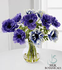 Jane Seymour Silk Botanicals Purple & Blue Anemones